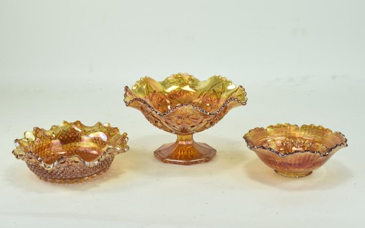 Three Pieces Of Orange Carnival Glass