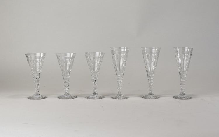 Set Of Six Art Deco Style Conical Shaped Wine Glas