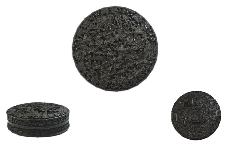 Chinese Tortoiseshell Circular Box And Cover 19thC