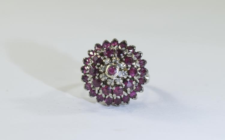 14ct gold ruby and diamond cluster ring, high moun