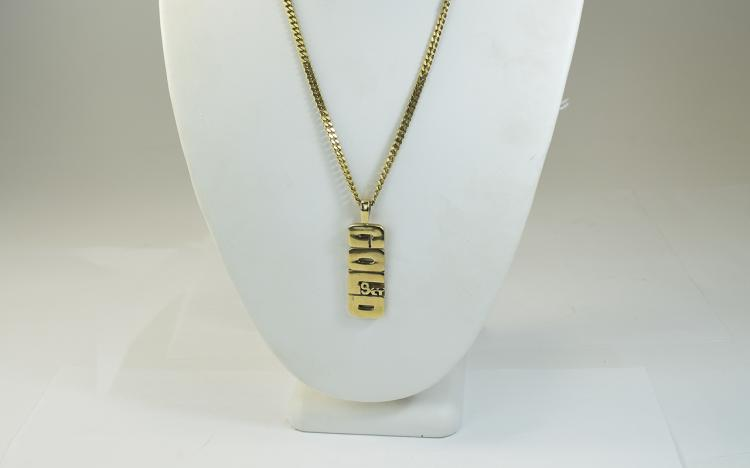 A 9ct Gold Pendant with Attached 9ct Gold Chain, F