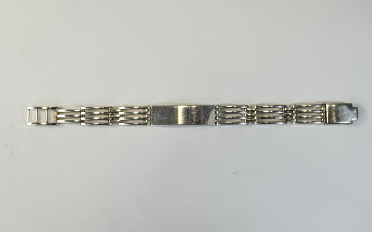 Silver ID Bracelet With Gate Links. Continental Ha