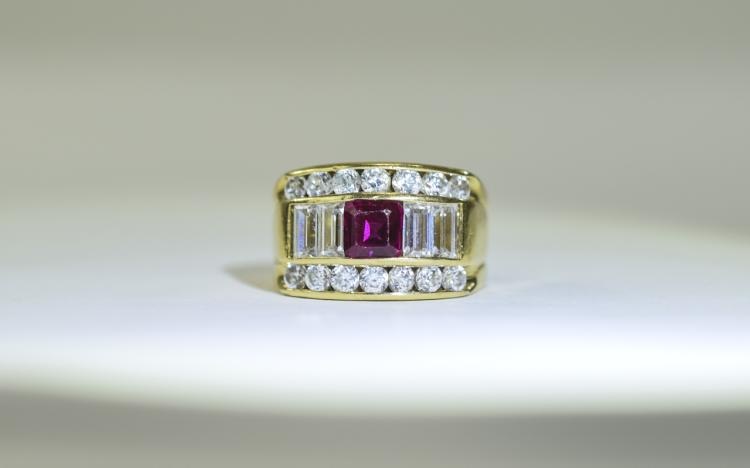 Italian 18ct Gold Dress Ring central emerald cut b