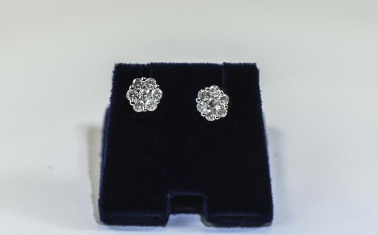 Pair of Ladies  Diamond Cluster Stud Earrings each