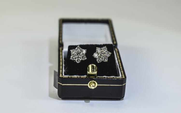 Pair of Ladies 18 Carat Diamond Cluster Earrings e