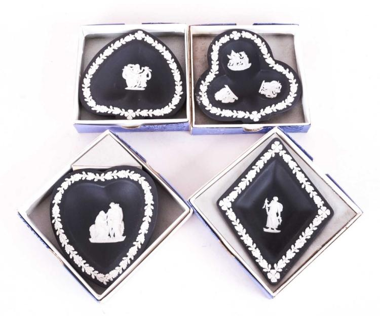 Wedgwood Black Jasper Ware of 4 Card Suite Dishes.