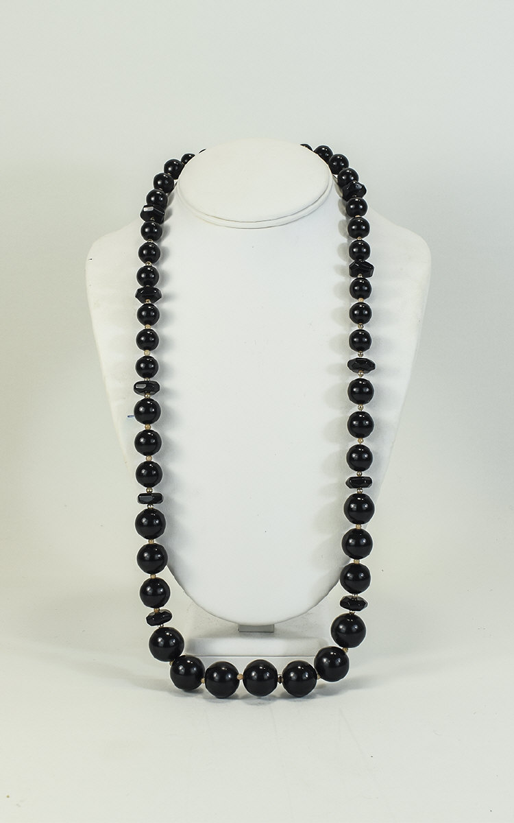Whitby Jet Graduated Long Necklace with Pearl Colo