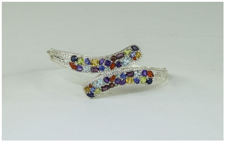 Multi Gemstone Crossover Bangle, set with fire opa