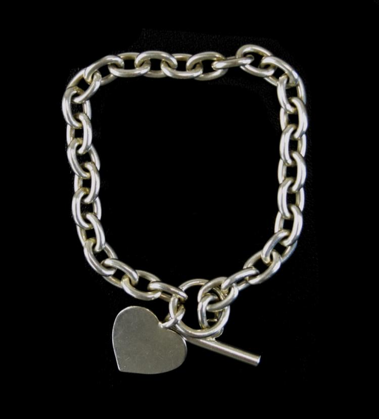 Silver Tiffany Style Bracelet With Heart Shaped Fo