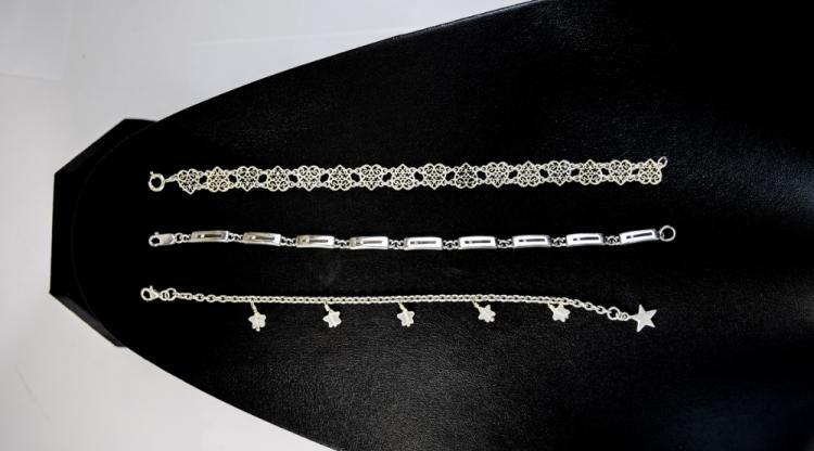 3 Silver Bracelets, Longest Length 7.5 Inches