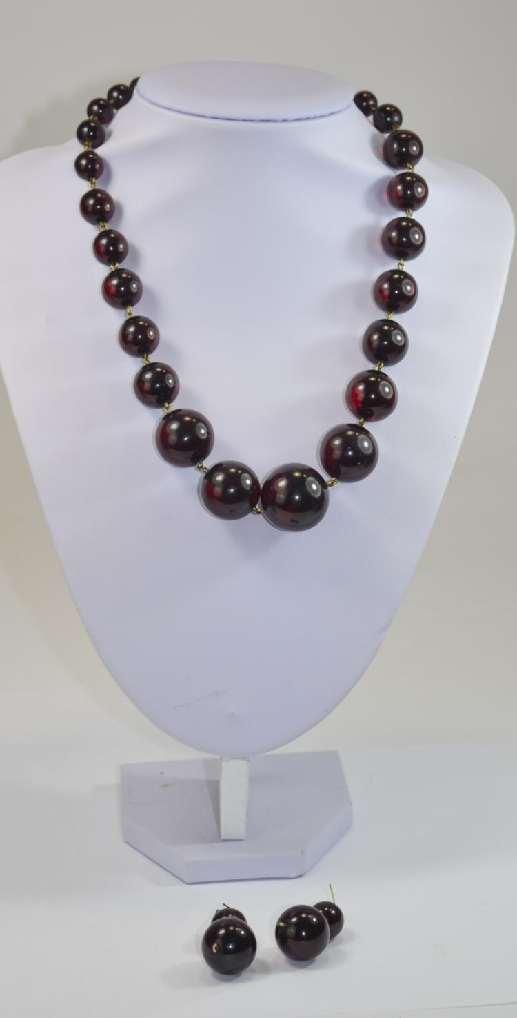 Dark Red Amber Necklace and Earrings, the necklace