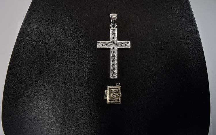Large Silver Pendant Cross Set With Clear Faceted
