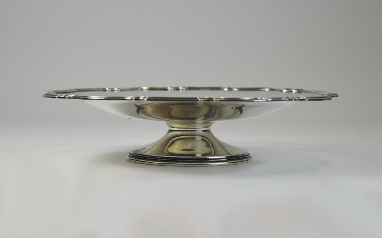 Art Deco Silver Pedestal Bowl with Shaped Border.