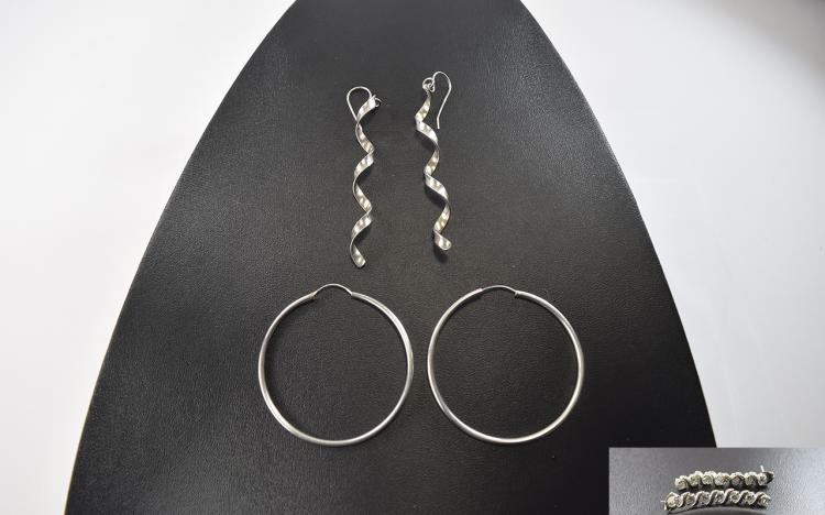 3 Pairs Of Silver Earrings
