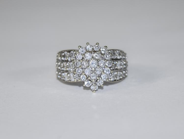 9ct White Gold Diamond Cluster Ring Set With 48 Ro
