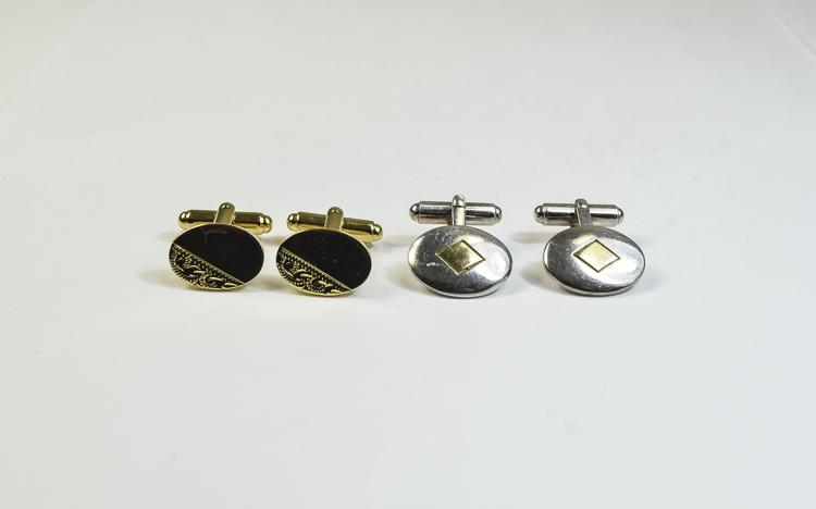 2 Pairs Of Gents Cufflinks Oval Fronts, One Marked