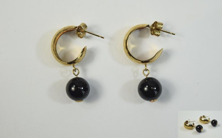 9ct Gold Hoop Earrings Set With Dark Bauble Stones
