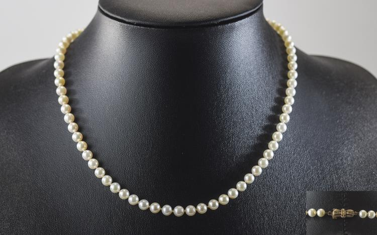 1930's Top Quality Cultured Pearl Necklace with Ar