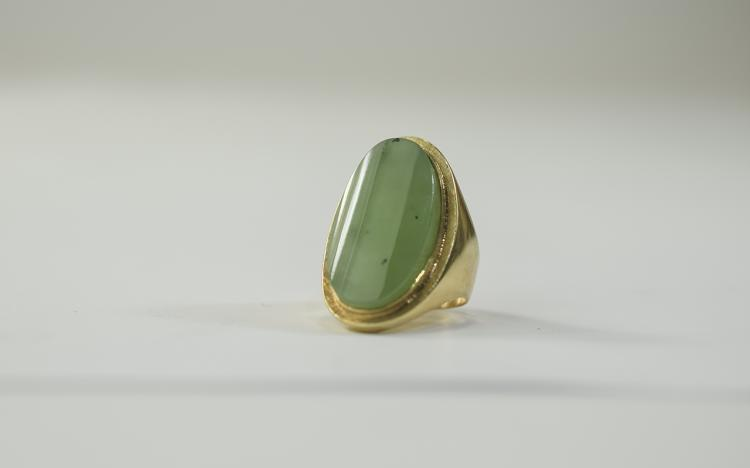 A Nice Quality and Impressive 18ct Gold Set Jadeit