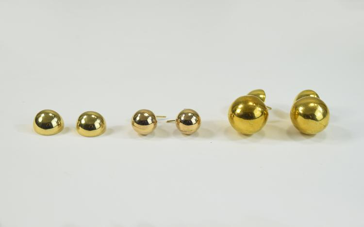 Ladies 9ct Gold Baubles Earrings ( 3 ) Pairs In To