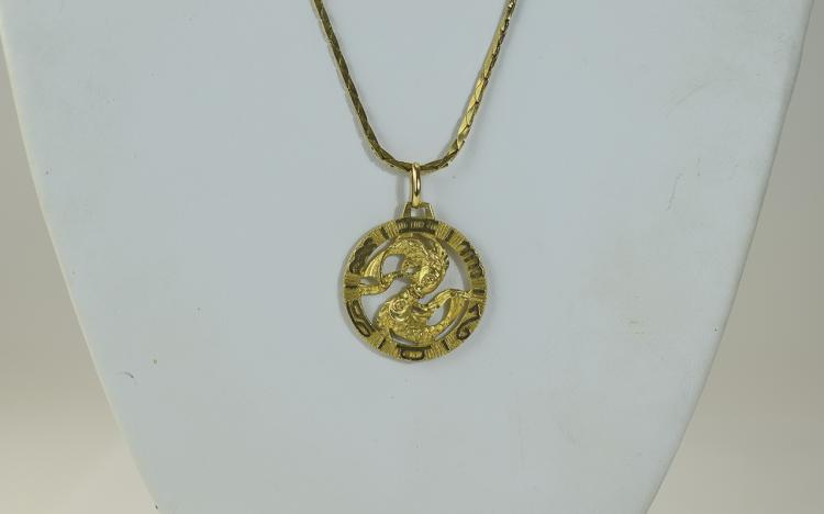 Horoscope - 9ct Gold Circular Pisces Pendant Attac