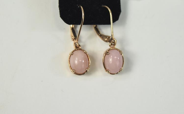 Pink Opal Drop Earrings, oval cut cabochons of pin