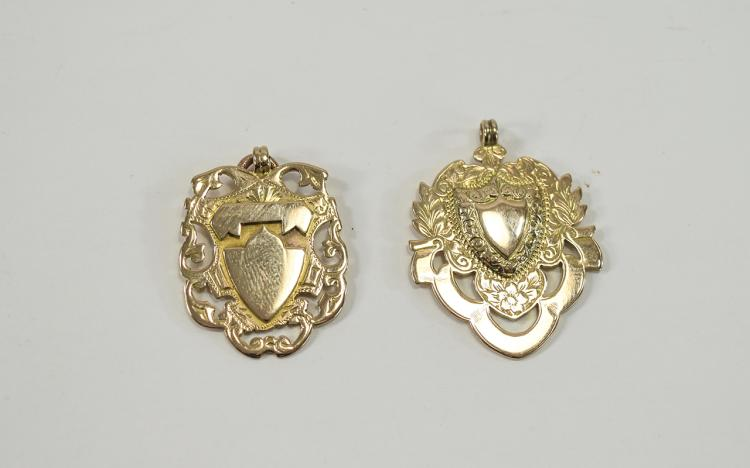 Edwardian Pair of 9ct Rose Gold Fobs with Vacant C
