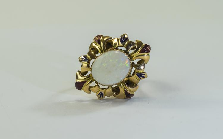 Ladies 14ct Gold Set Single Stone Opal Ring. Marke