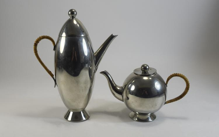 Nick Munro Pewter Tea Pot And Hot Water Jug.