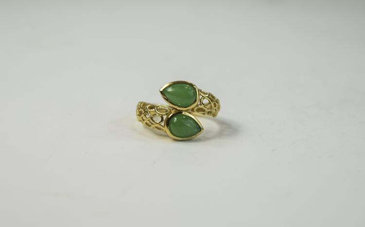 Green Jade Crossover Ring, openwork shoulders to t