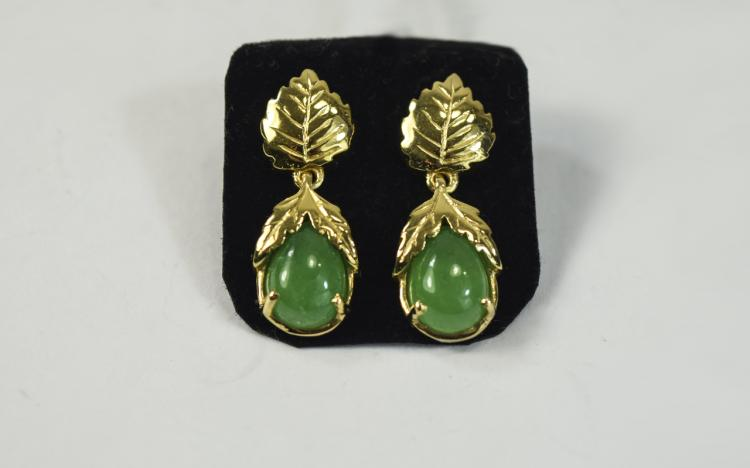 Green Jade Drop Earrings, pear cut cabochons of gr
