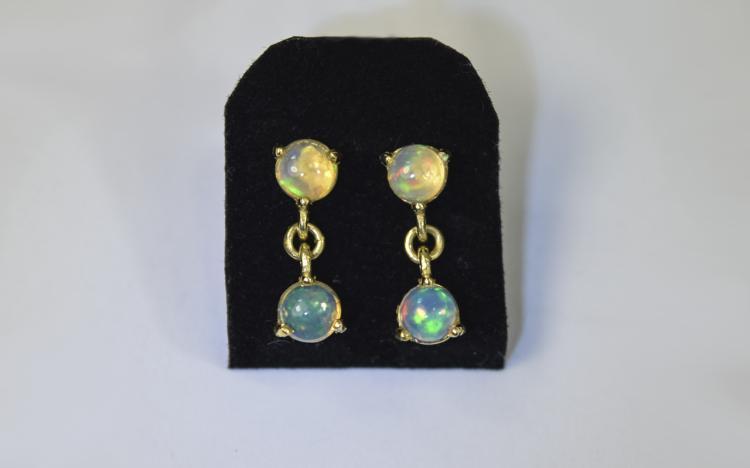 Pair of Natural Opal Drop Earrings, each earring c