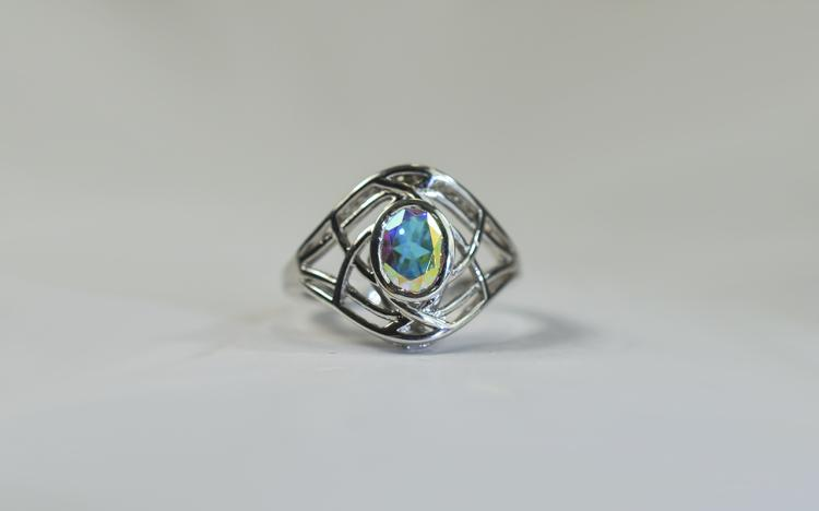 Mercury Mystic Topaz Solitaire Ring, bezel set 1.5