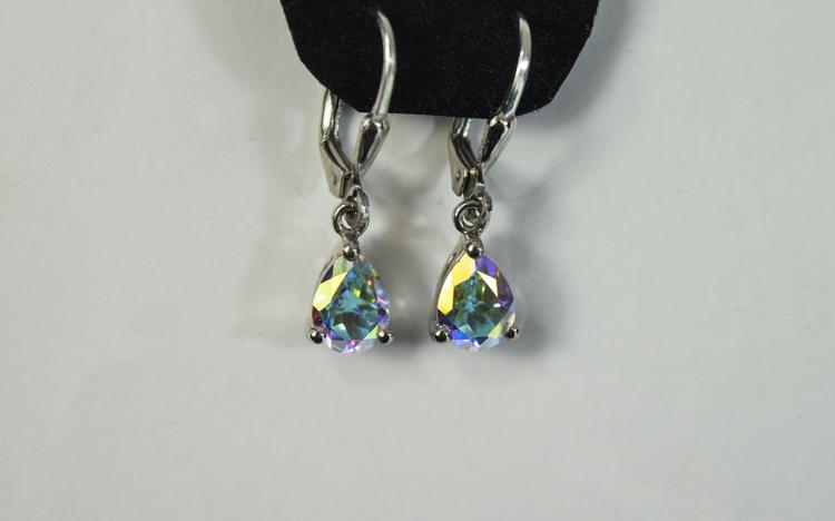 Mercury Mystic Topaz Pair of Drop Earrings, pear c