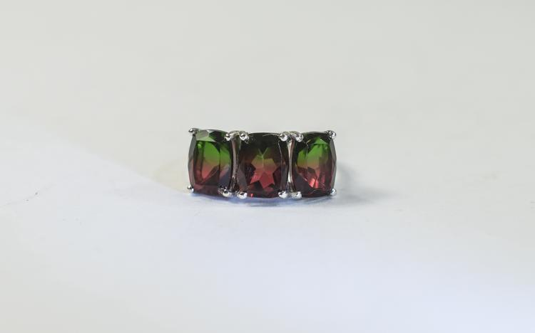 Bi-Colour Tourmaline Colour Quartz Ring, comprisin