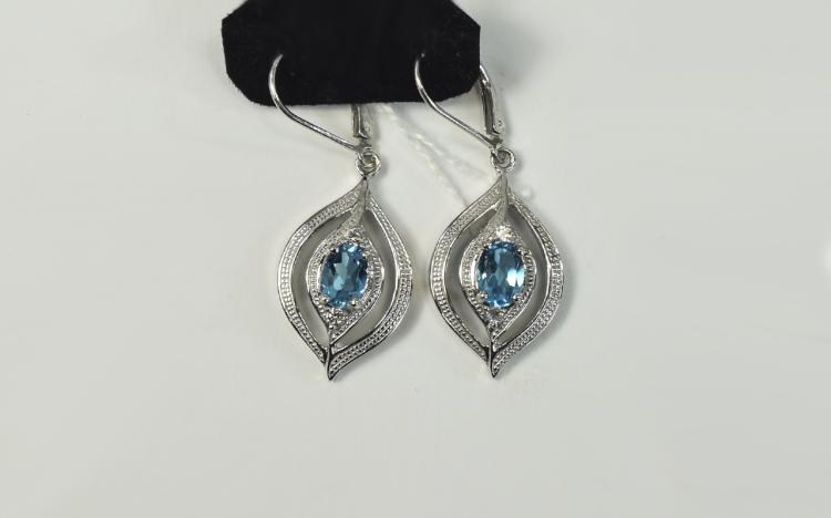 Swiss Blue Topaz Pair of Drop Earrings, two oval c
