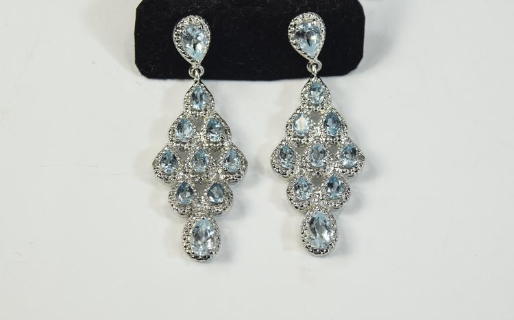 Sky Blue Topaz Pendant Earrings, nine pear cut top