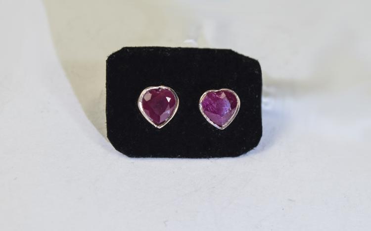 Pair of Ruby Heart Cut Stud Earrings, the heart cu