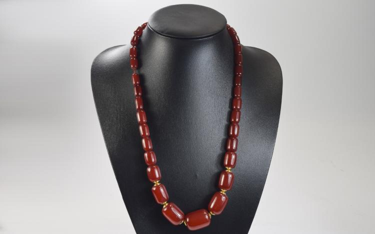 Toffee Amber Reconstituted Necklace, graduated bar