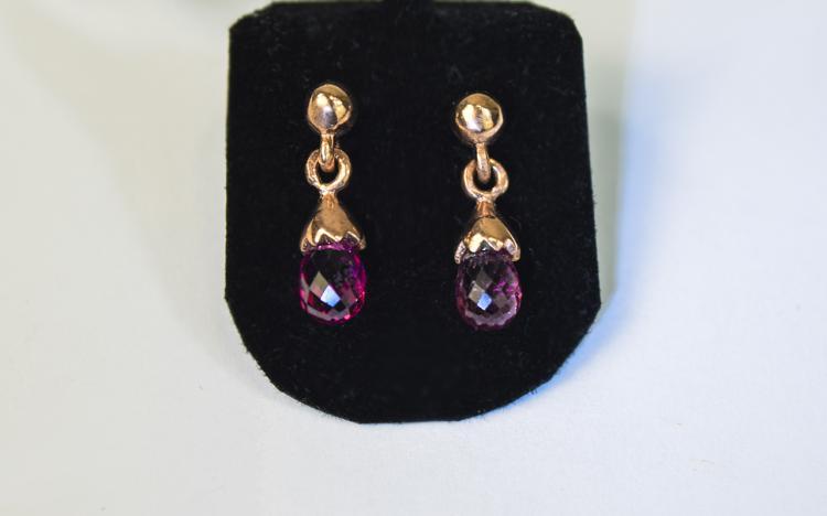 Pink Tourmaline Briolette Drop Earrings, each earr