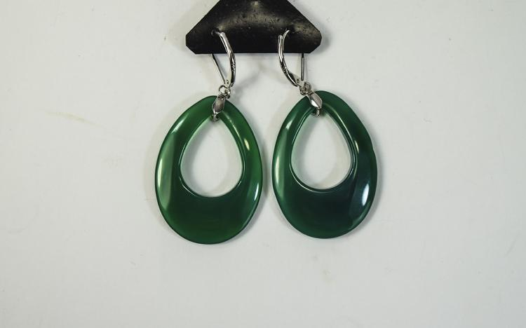 Green Agate Long Pear Drop Earrings, smoothly poli
