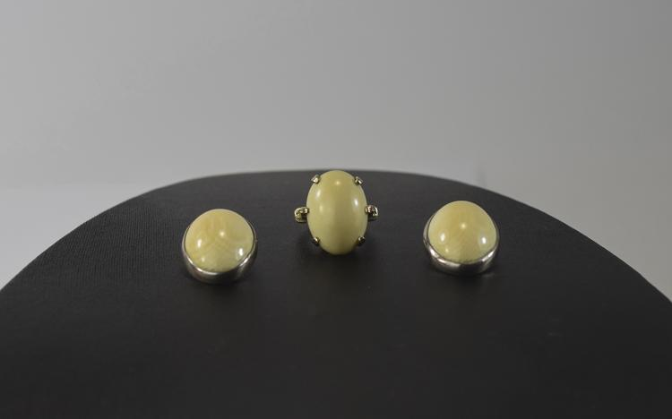 Ivory and Gold Ring plus Pair of Ivory Earrings, a