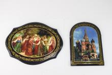 Russian - Vintage Pair of Painted Wall Plaques, De