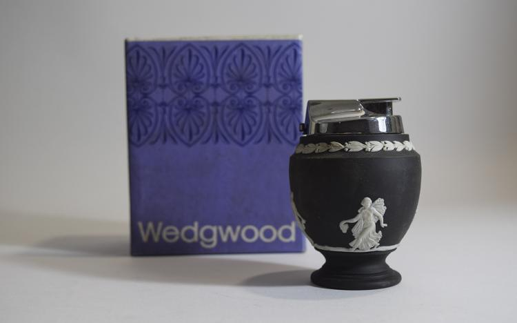 Wedgwood Black Basalt Floral Girls Table Lighter.