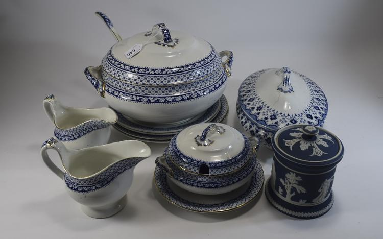 Blue And White Part Dinner Set 11 Pieces In Total