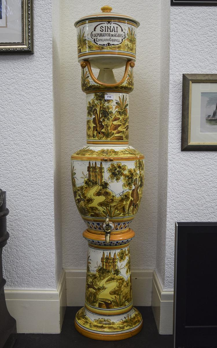 Large Spanish Majolica Water Filter, Yellow, Ochre