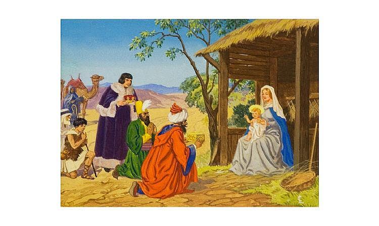 Conrad Heighton Leigh, Nativity Scene, Gouache,