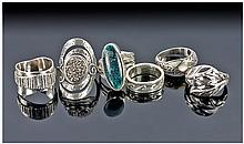 Collection Of 6 Silver Rings, 3 Stone Set