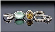 Collection Of 6 Silver Rings, Stone And Paste Set