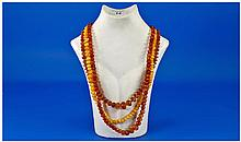 Fine Genuine Natural Faceted Amber Bead Necklaces,